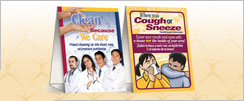 Clean Because We Care and Cover Your Cough Table Tents